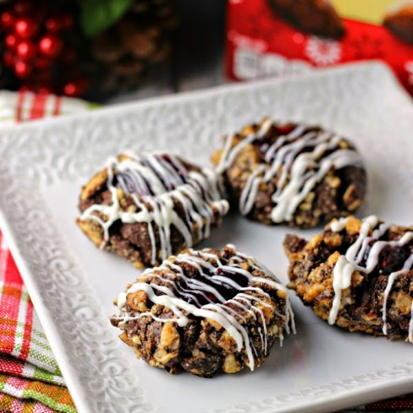 Cocoa Almond Thumbprint Cookies   Renee's Kitchen Adventures  Double cocoa goodness in a delicious almond thumbprint cookie #gonutsfornuts #shop