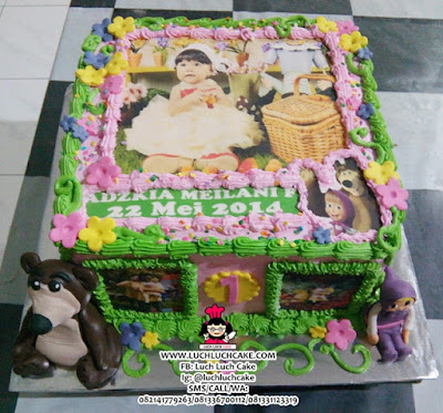 Kue Tart Edible Foto Masha and The Bear