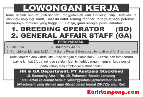 Lowongan General Affair Staff & Breeding Operator PT. Austasia Stockfeed Terbaru
