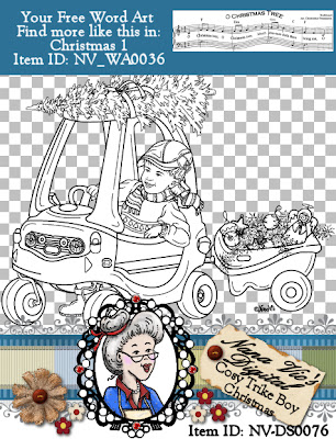 Christmas Cosy Trike BOY digital stamp