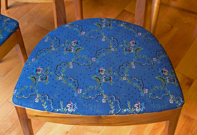 traditional upholstery on a dining chair