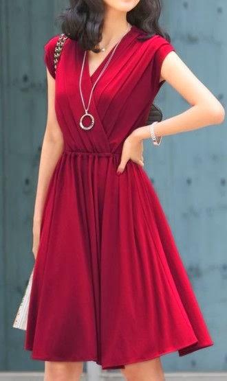 V-Neck Wine Red Dress
