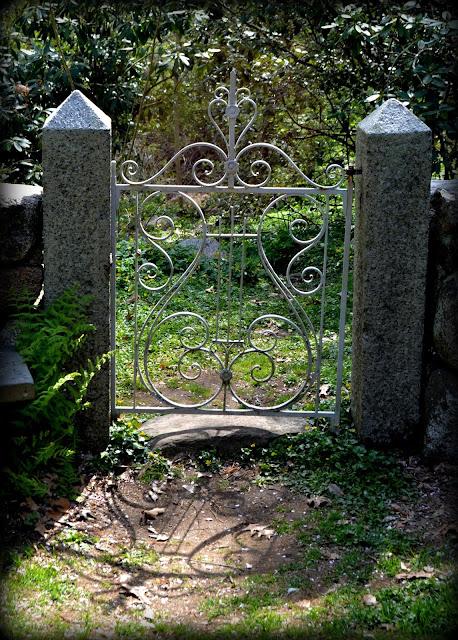 Gate. Long Hill Estate, Beverly, Massachusetts, shadow