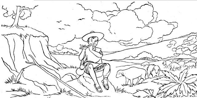 Dibujo para colorear de Benito Juarez de niño