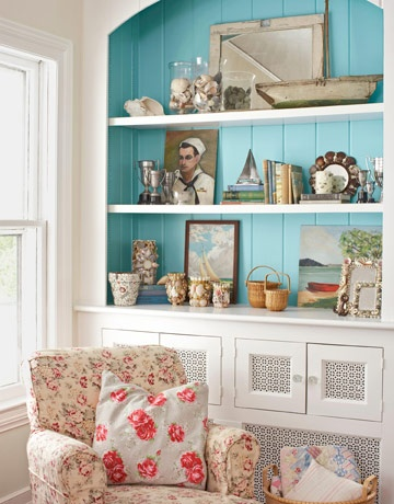 blue painted bookcase