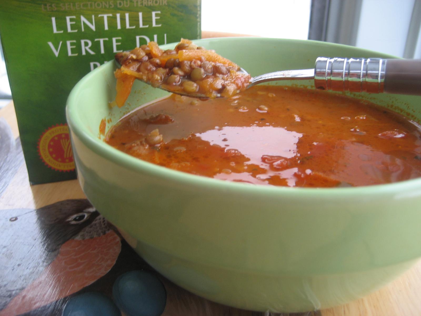 marie est dans son assiette soupe repas aux saucisses italiennes et lentilles vertes du puy. Black Bedroom Furniture Sets. Home Design Ideas