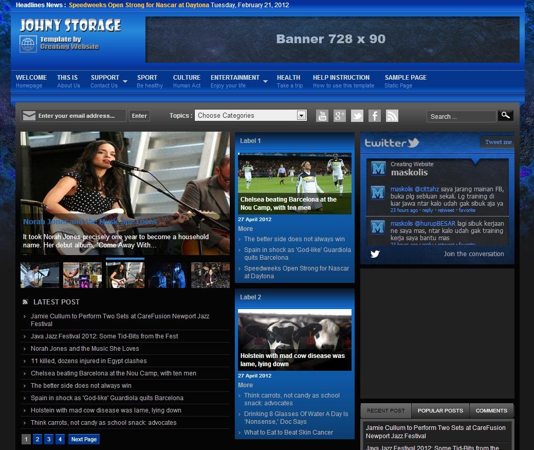 Johny Storage Dark Blogger Template Premium Blogger Templates