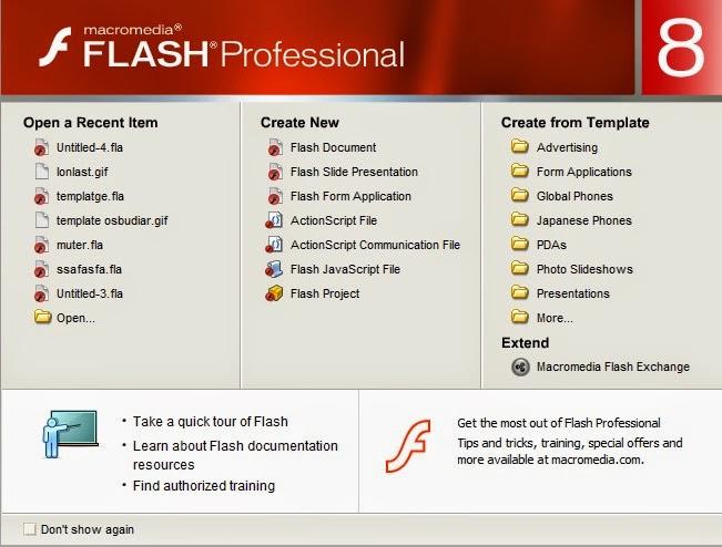 Langkah pertama Instal dulu Amplikasi Macromedia Flash 08 Pilih ...
