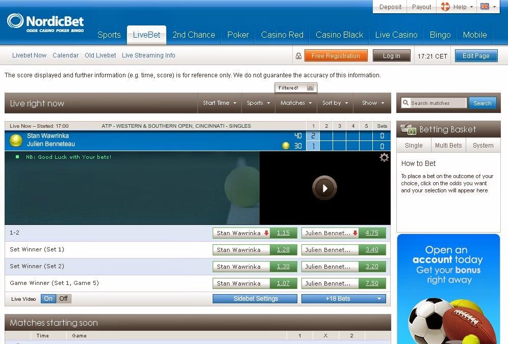 Nordicbet Live betting Screen