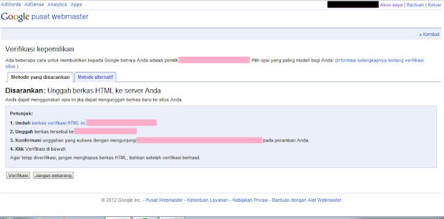 Cara Daftar Blog ke Google Webmaster Tools - Halaman Verifikasi Kepemilikan