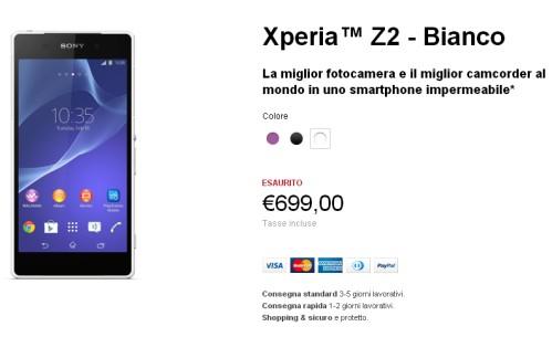 Prezzo Sony Xperia Z2 store ufficiale esaurito