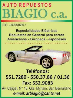 AUTO REPUESTOS BIAGIO, C.A. en Paginas Amarillas tu guia Comercial