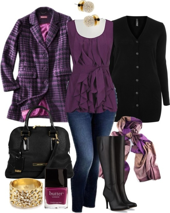 Purple long jacket, purple gown, jeans, black hand bag, scarf and other ladies accessories