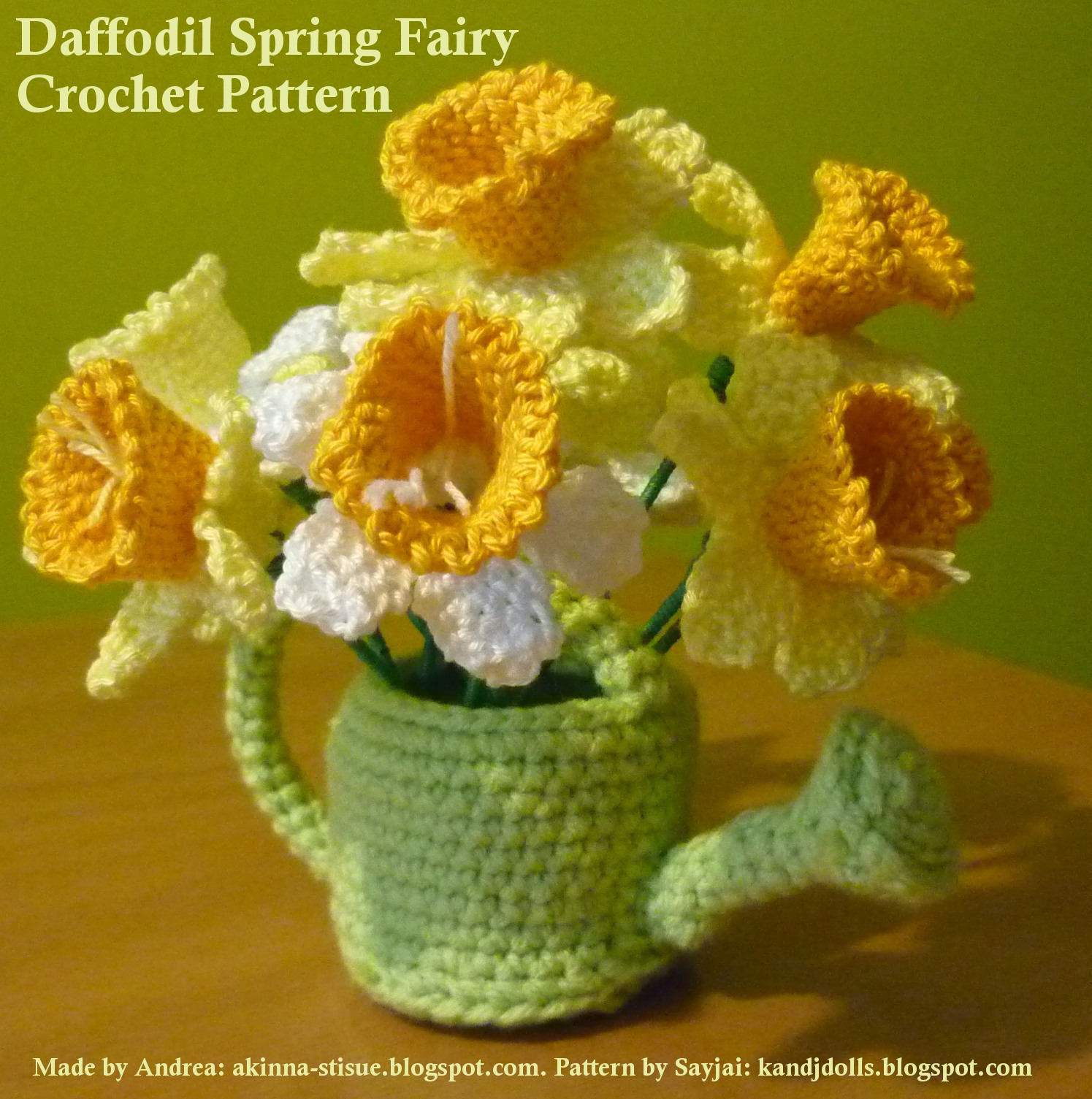 Free Crochet Daffodil Flower Pattern : Daffodil Spring Fairy 2 - Sayjai Amigurumi Crochet ...