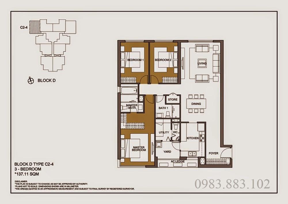 Thiết kế căn C2-4 Chung cư Mulberry Lane