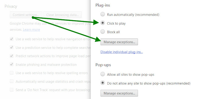 Chrome content settings to enable click to play