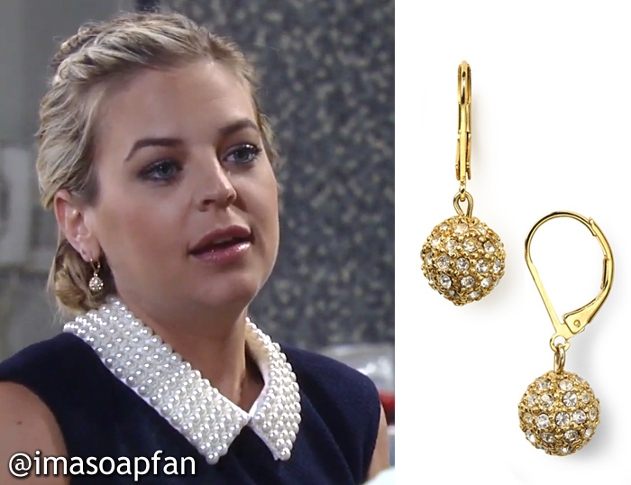 During These Scenes Maxie Was Wearing Gold Glitz Ball Drop Hoop Earrings By Lauren Ralph I Identified S Navy Dress With The Pearl Collar In A