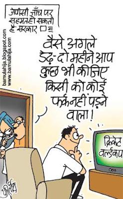 icc world cup 2011, cricket cartoon, cricket world cup cartoon, common man cartoon, manmohan singh cartoon, congress cartoon