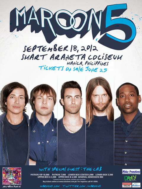 Ticket Prices Details Maroon 5 in Manila 2012