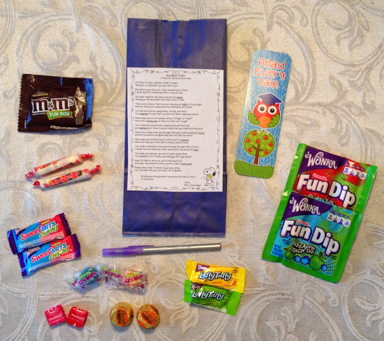 end of the year goodie bags and poem mrs o knows