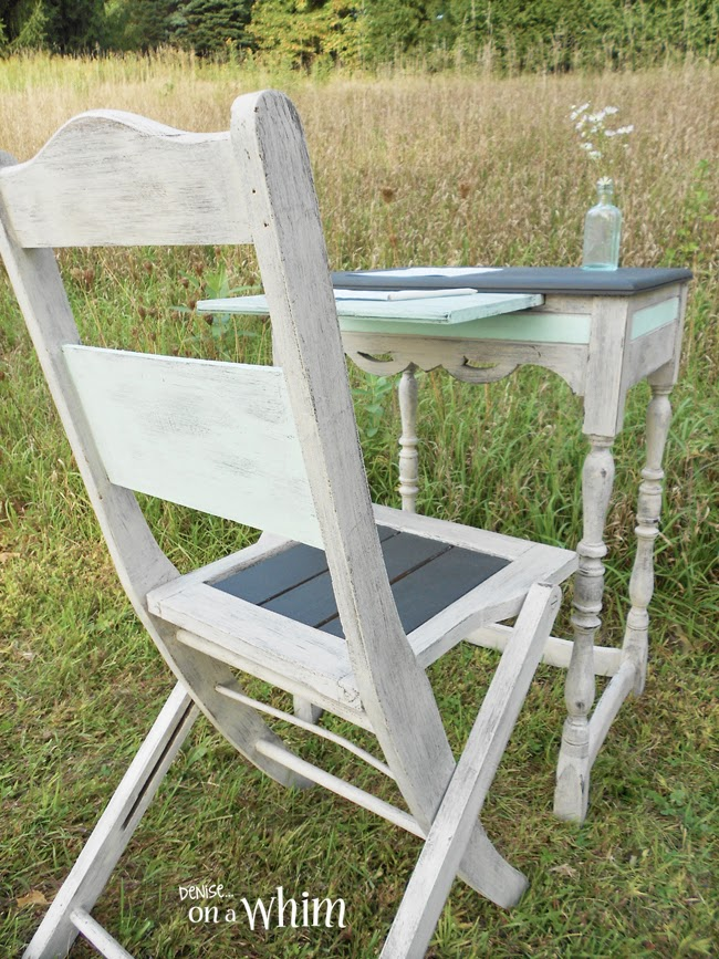 Romantic Antique Writing Table Makeover and Chair from Denise on a Whim. So Pretty!