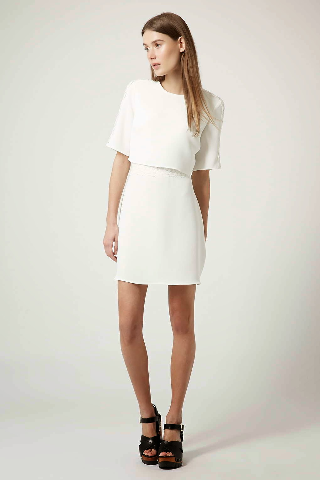 topshop white panel dress,