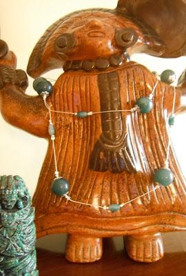 Brujaness Brujaness's Workshop. Green Jade & Sterling Silver Necklace
