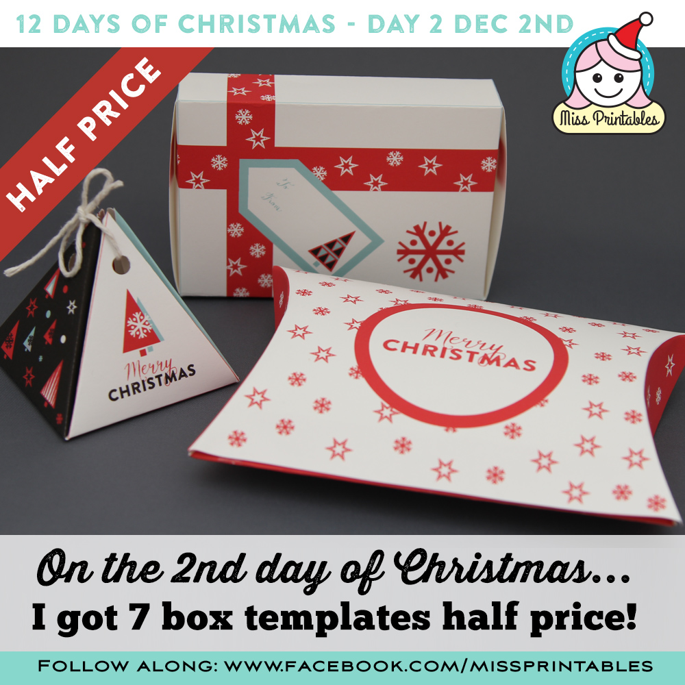 photo regarding 12 Days of Christmas Printable Templates named Skip Printables: 12 Times of Xmas - Xmas packing containers 50 %