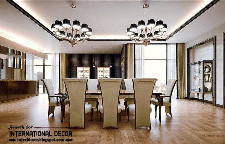 Stylish Art Deco dining room interior design style and furniture, luxury chandeliers