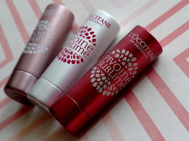 L'Occitane Pivoine Sublime Tinted Lip Balms in Rose Plum, Rose Amber & Transparent