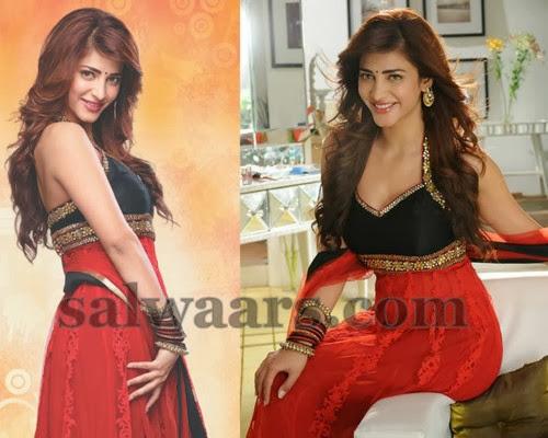 Shruti Hassan Red Velvet Salwar