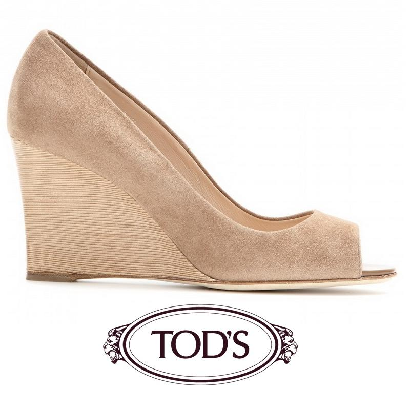 Tods Damen Suede Peep-toe Wedges Tabak - Princess Mary