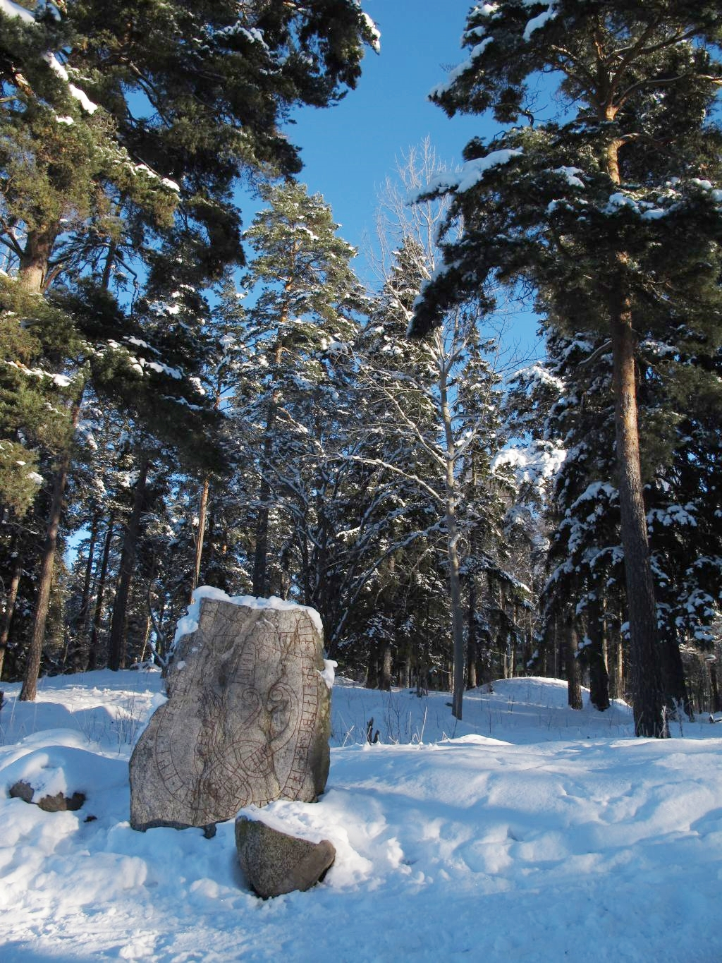 Rune stone in the snow, Stockholm, Sweden. Photo by susan wellington