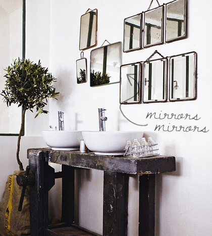To da loos: Decorating bathroom walls with mucho mirrors