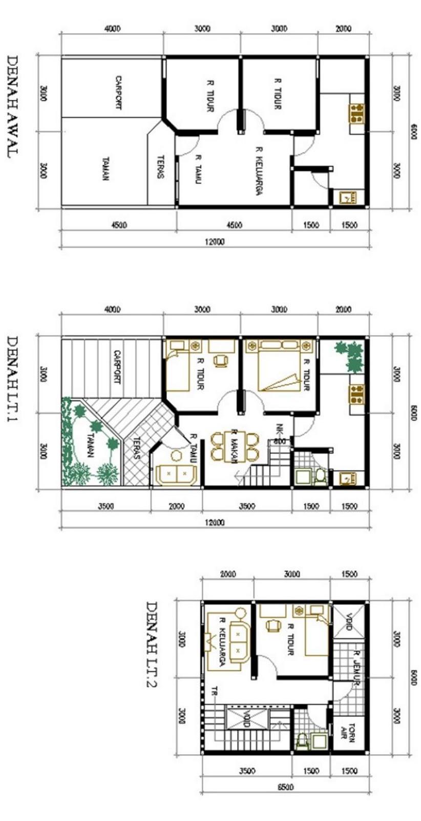 bentuk denah 2 lantai 6x12 populer