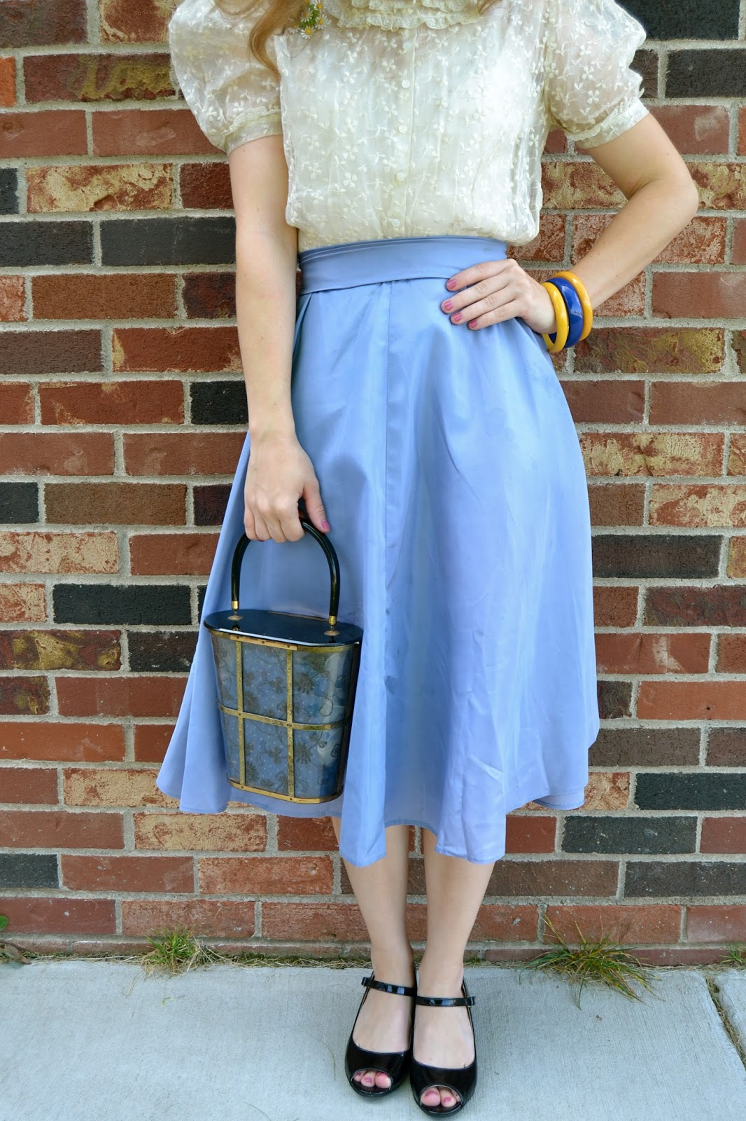 Last First Day of School Outfit- light blue cream white lace vintage ...
