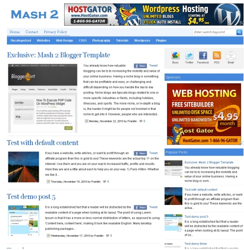 MASH+2 Top 10 Premium WordPress like Blogger Templates for Free