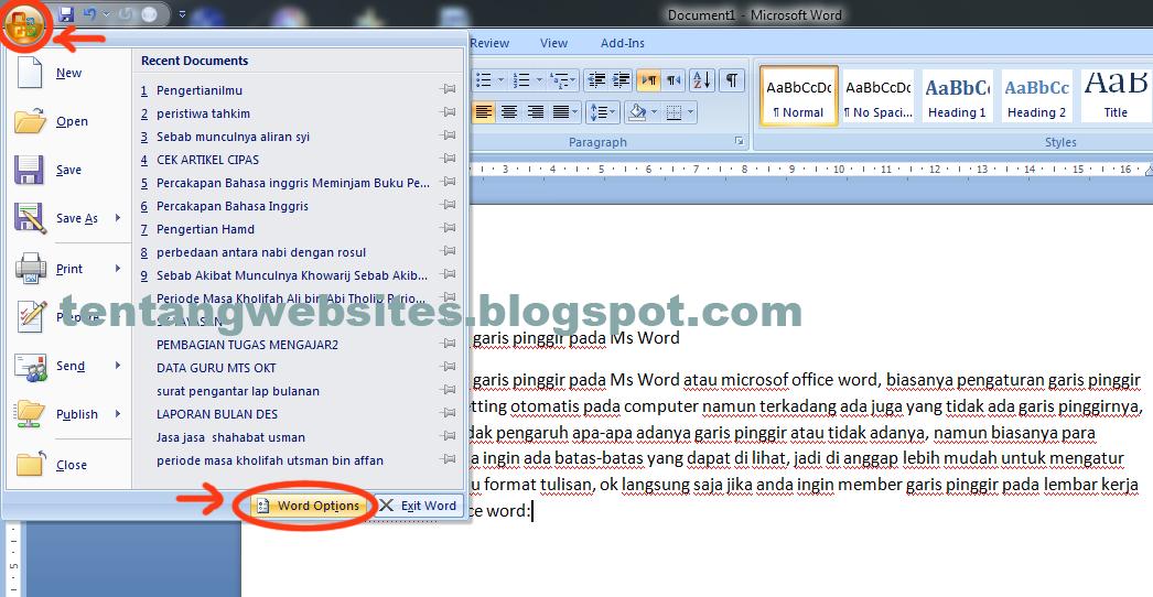 Cara memberi garis pinggir pada aplikasi microsof office word