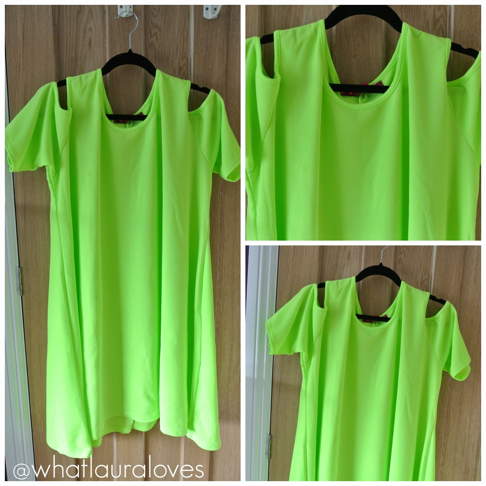Lime open shoulder dress from BoohooPLUS shift dress
