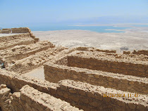 Northern tip storehouses of Masada, overlooking the Dead Sea 450 meters below (Israel)