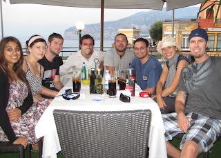 Natasha, Erin, Patrick, Peter, Eugenio, Ani, Jana and Noah eating at the Foreigners Club in Sorrento