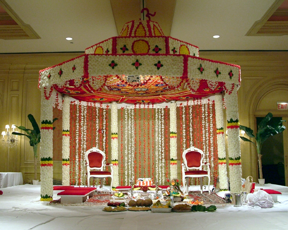 Indian wedding planner creative ideas for wedding mandaps for Artificial flower decoration mandap