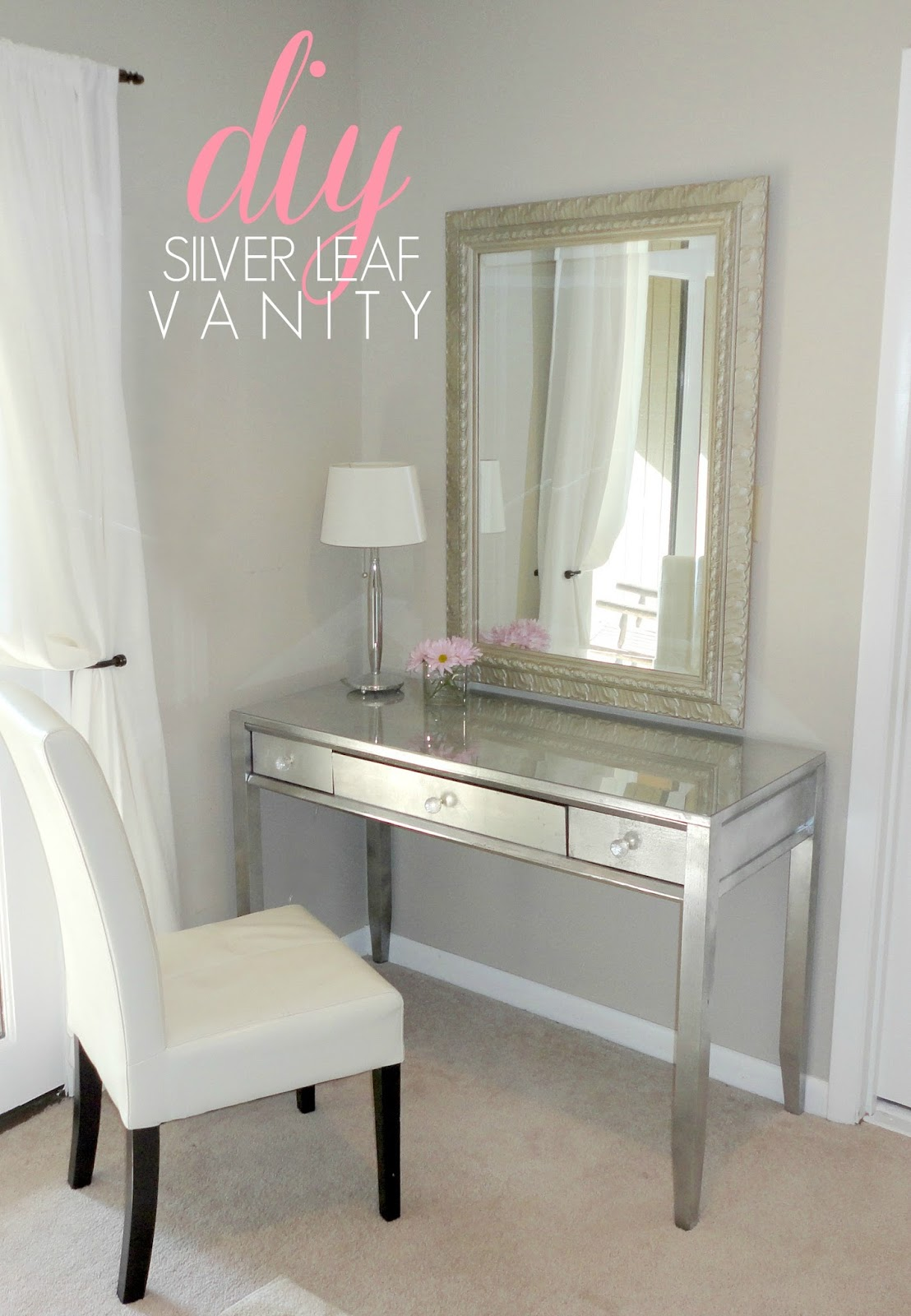 Livelovediy diy thrift store desk makeover using silver for Diy wood vanity