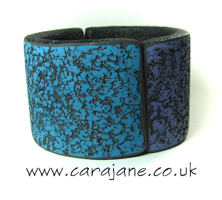 teal and purple textured hinged bangle