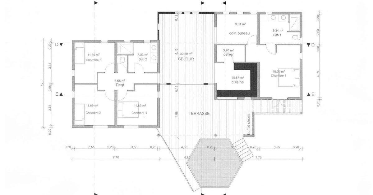 plan de maison 3 chambres salon. Black Bedroom Furniture Sets. Home Design Ideas