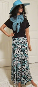 Abstract Turquose Animal Print Maxi skirt