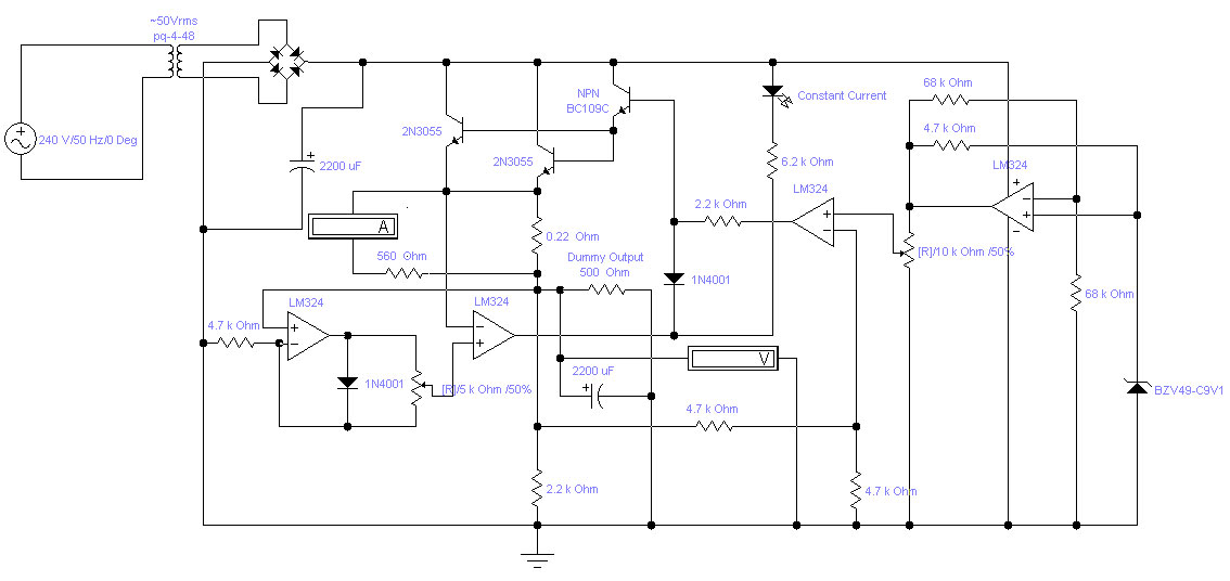 Adjustable Lab Power Supply Simple Schematic Collection