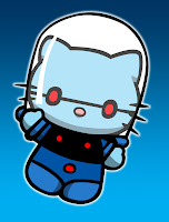 Hello Kitty in Mr Freeze costume