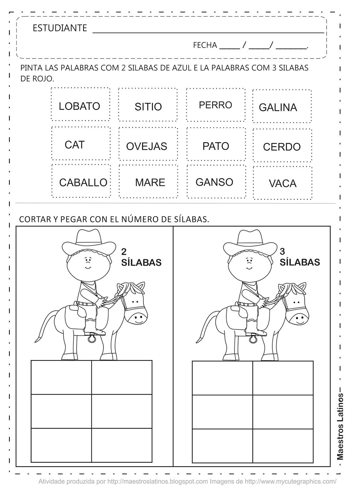 Actividad Educacion Infantil Cortar y Pegar Don Lobato y su Sitio