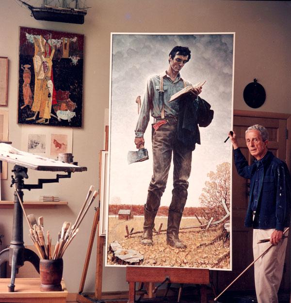 Norman Rockwell em seu estúdio Massachusetts em 1965, trabalhando na pintura Lincoln